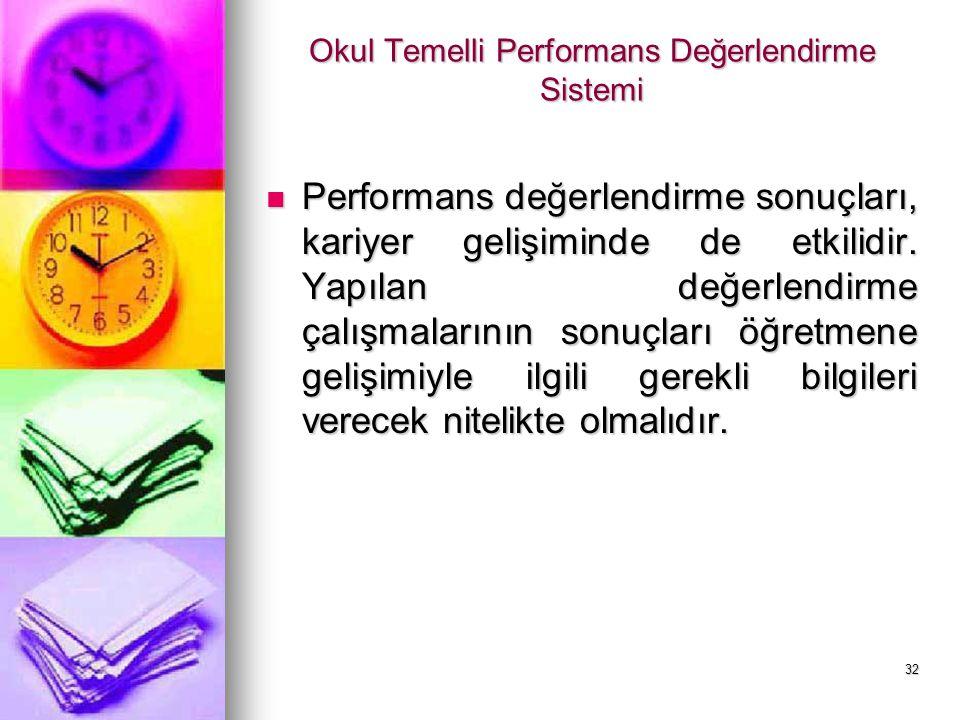 32 Okul Temelli Performans Değerlendirme Sistemi Performans değerlendirme sonuçları, kariyer gelişiminde de etkilidir. Yapılan değerlendirme çalışmala