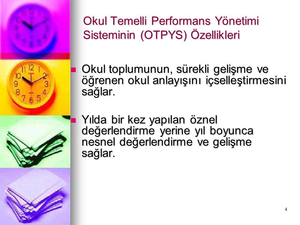 5 Okul Temelli Performans Yönetimi Sisteminin (OTPYS) Özellikleri İstenen okul kültürünün yerleştirilmesinde önemli bir araçtır.