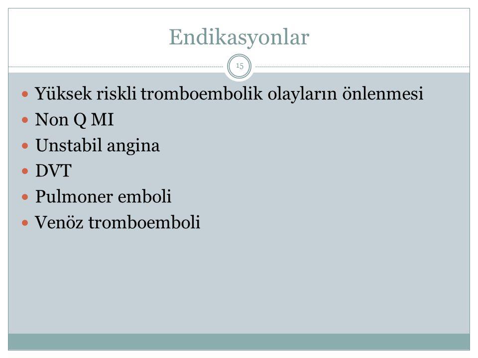 Endikasyonlar Yüksek riskli tromboembolik olayların önlenmesi Non Q MI Unstabil angina DVT Pulmoner emboli Venöz tromboemboli 15