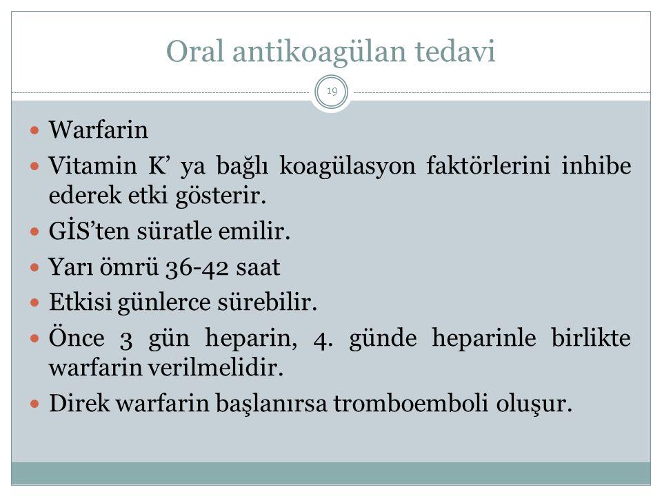 Oral antikoagülan tedavi Warfarin Vitamin K' ya bağlı koagülasyon faktörlerini inhibe ederek etki gösterir. GİS'ten süratle emilir. Yarı ömrü 36-42 sa