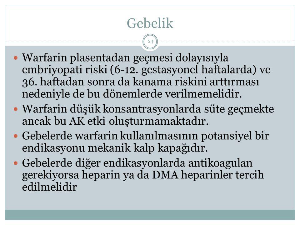 Gebelik Warfarin plasentadan geçmesi dolayısıyla embriyopati riski (6-12. gestasyonel haftalarda) ve 36. haftadan sonra da kanama riskini arttırması n
