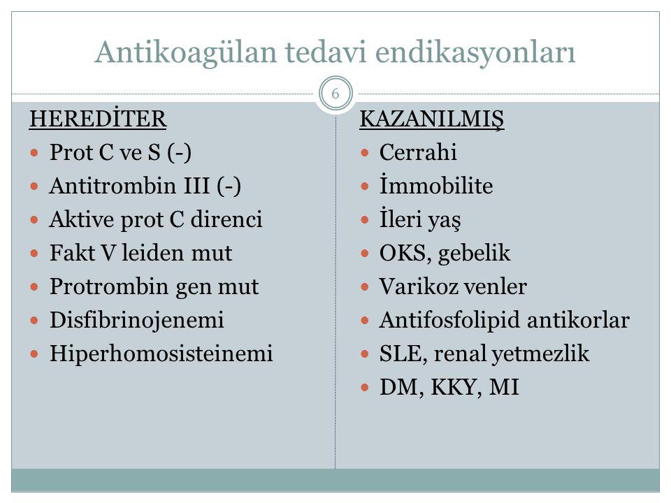 Antikoagülan tedavi endikasyonları HEREDİTER Prot C ve S (-) Antitrombin III (-) Aktive prot C direnci Fakt V leiden mut Protrombin gen mut Disfibrino