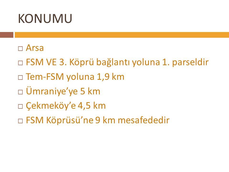 KONUMU ARSA TEM BAĞLANTI YOLU  Arsa  FSM VE 3. Köprü bağlantı yoluna 1. parseldir  Tem-FSM yoluna 1,9 km  Ümraniye'ye 5 km  Çekmeköy'e 4,5 km  F