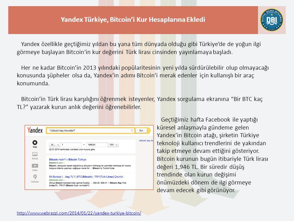 http://www.webrazzi.com/2014/01/22/yandex-turkiye-bitcoin/ Yandex Türkiye, Bitcoin'i Kur Hesaplarına Ekledi Yandex özellikle geçtiğimiz yıldan bu yana
