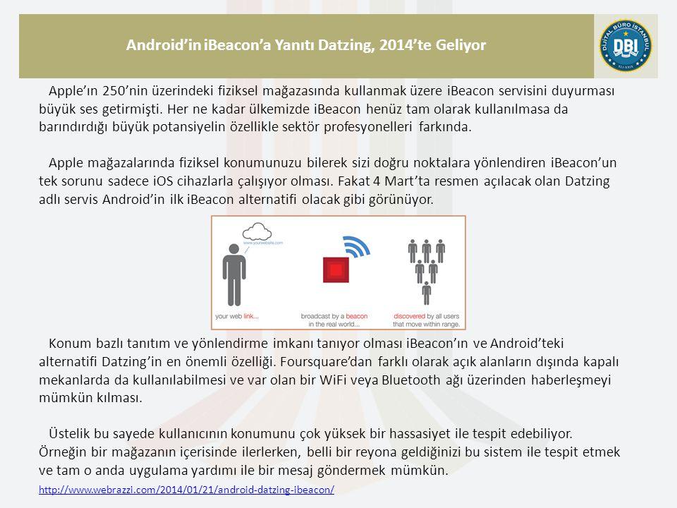 http://www.webrazzi.com/2014/01/21/android-datzing-ibeacon/ Android'in iBeacon'a Yanıtı Datzing, 2014'te Geliyor Apple'ın 250'nin üzerindeki fiziksel