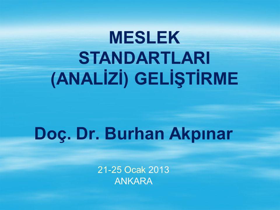 Doç. Dr. Burhan Akpınar 21-25 Ocak 2013 ANKARA MESLEK STANDARTLARI (ANALİZİ) GELİŞTİRME