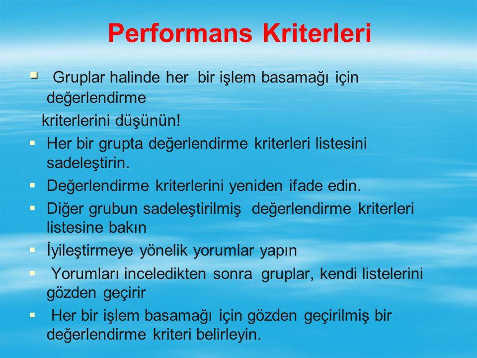 Performans Kriterleri   Gruplar halinde her bir işlem basamağı için değerlendirme kriterlerini düşünün.
