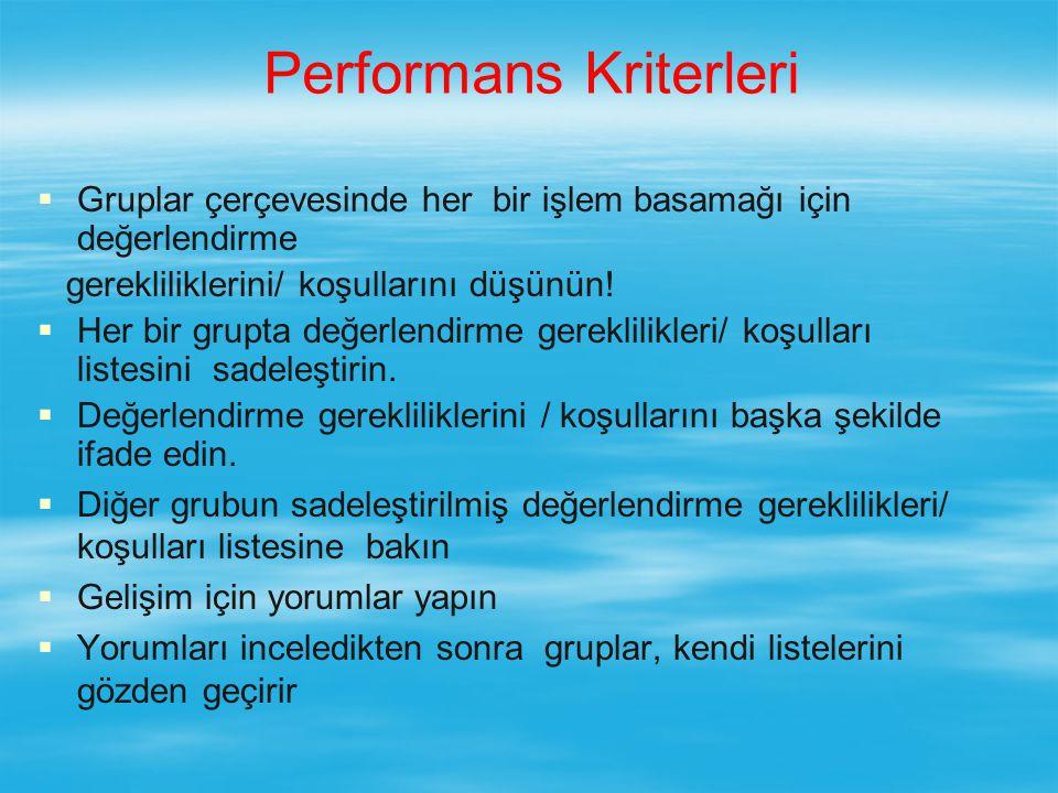 Performans Kriterleri   Gruplar çerçevesinde her bir işlem basamağı için değerlendirme gerekliliklerini/ koşullarını düşünün.