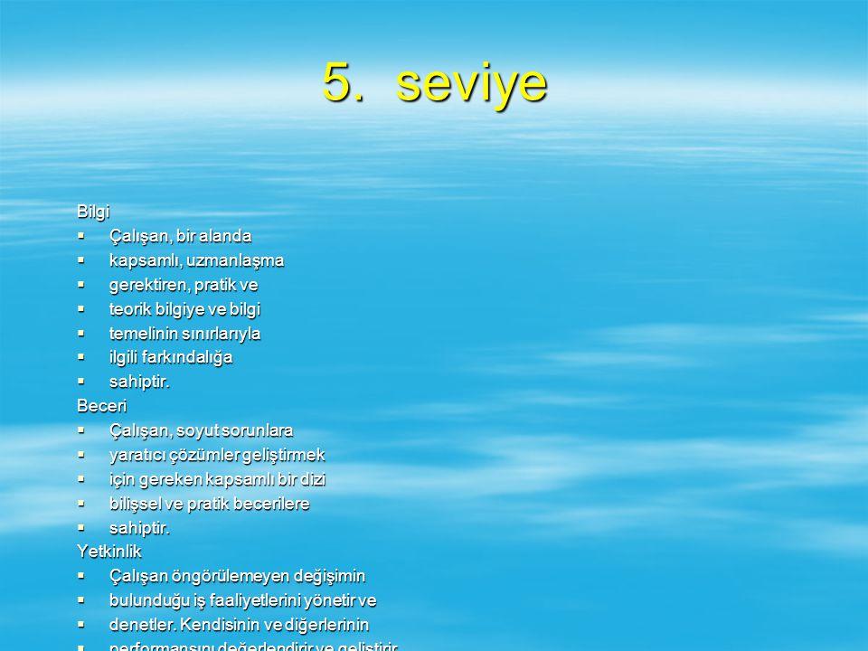 5. seviye Bilgi  Çalışan, bir alanda  kapsamlı, uzmanlaşma  gerektiren, pratik ve  teorik bilgiye ve bilgi  temelinin sınırlarıyla  ilgili farkı