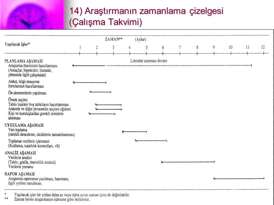 19 14) Araştırmanın zamanlama çizelgesi (Çalışma Takvimi)