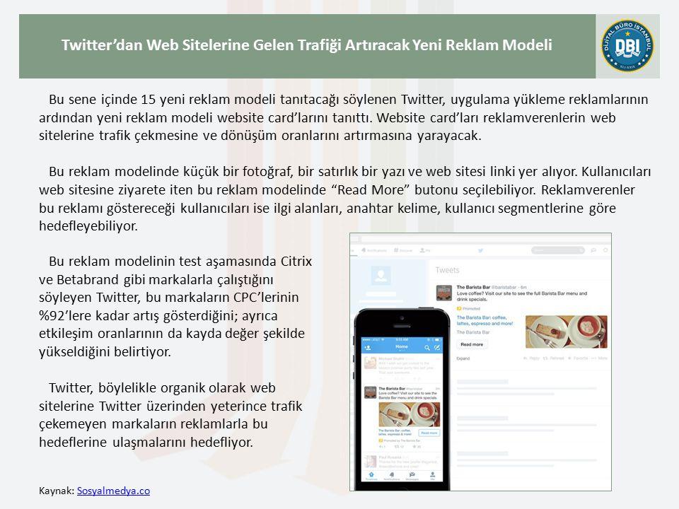 Kaynak: WebrazziWebrazzi Facebook ve Twitter'ın Ardından Google Da Uygulama İndirtmeye Yönelik Reklamlarını Devreye Alıyor Geçtiğimiz günlerde Twitter, mobil uygulama indirtmeye yönelik reklam modelini test etmeye başladığını paylaşmıştı.