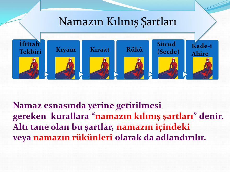 """Namazın Kılınış Şartları İftitah Tekbiri KıyamKıraatRükû Sücud (Secde) Kade-i Ahire Namaz esnasında yerine getirilmesi gereken kurallara """"namazın kılı"""
