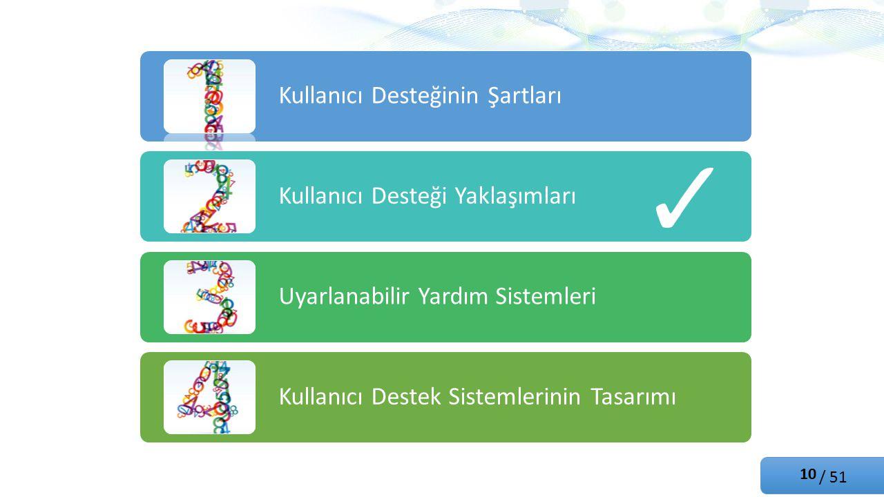 / 51 Kullanıcı Desteğinin Şartları Kullanıcı Desteği Yaklaşımları Uyarlanabilir Yardım Sistemleri Kullanıcı Destek Sistemlerinin Tasarımı 10