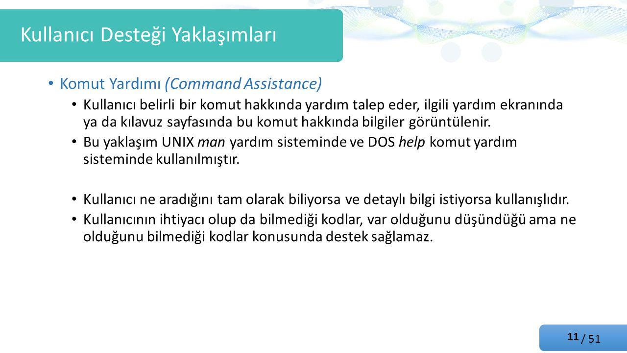 / 51 Komut Yardımı (Command Assistance) Kullanıcı belirli bir komut hakkında yardım talep eder, ilgili yardım ekranında ya da kılavuz sayfasında bu komut hakkında bilgiler görüntülenir.