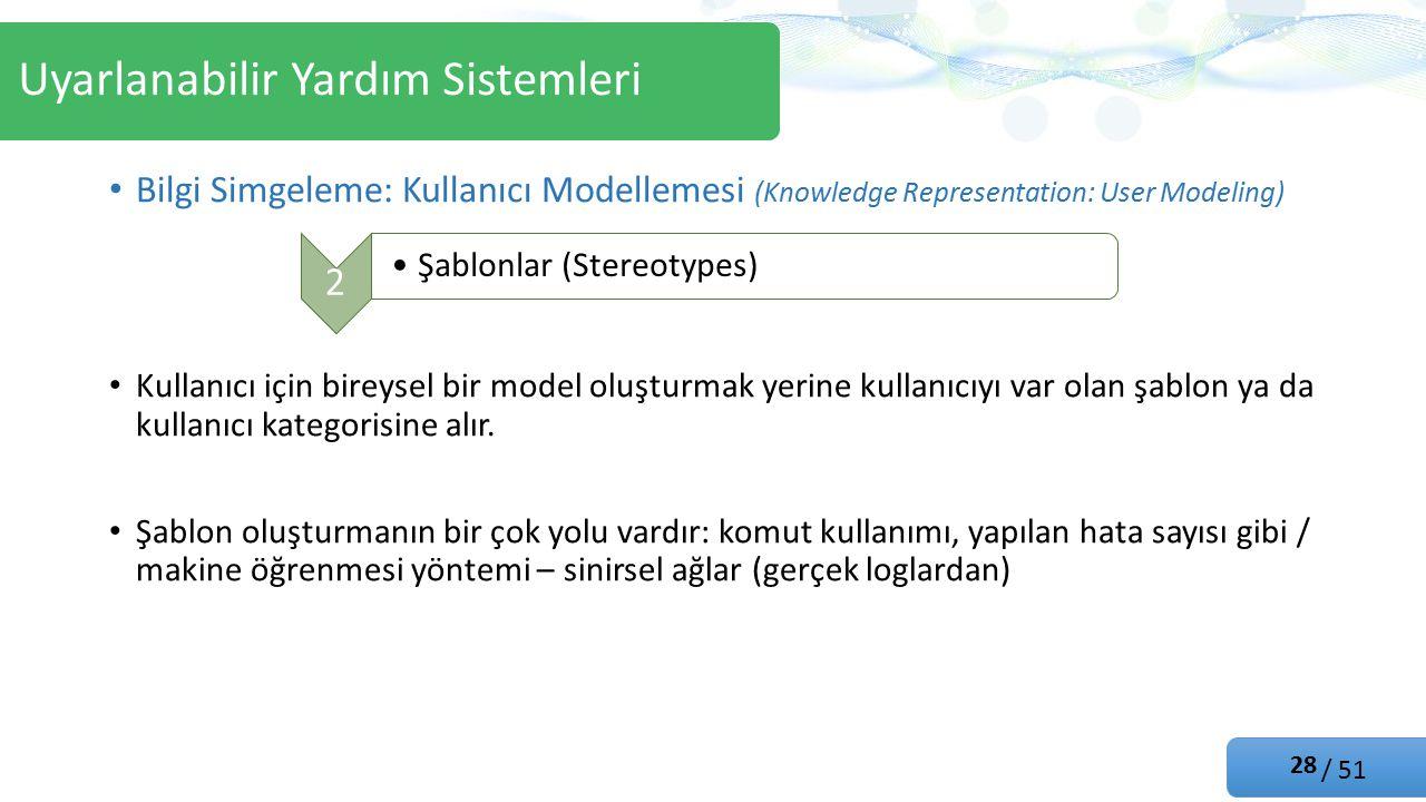 / 51 Bilgi Simgeleme: Kullanıcı Modellemesi (Knowledge Representation: User Modeling) Kullanıcı için bireysel bir model oluşturmak yerine kullanıcıyı var olan şablon ya da kullanıcı kategorisine alır.