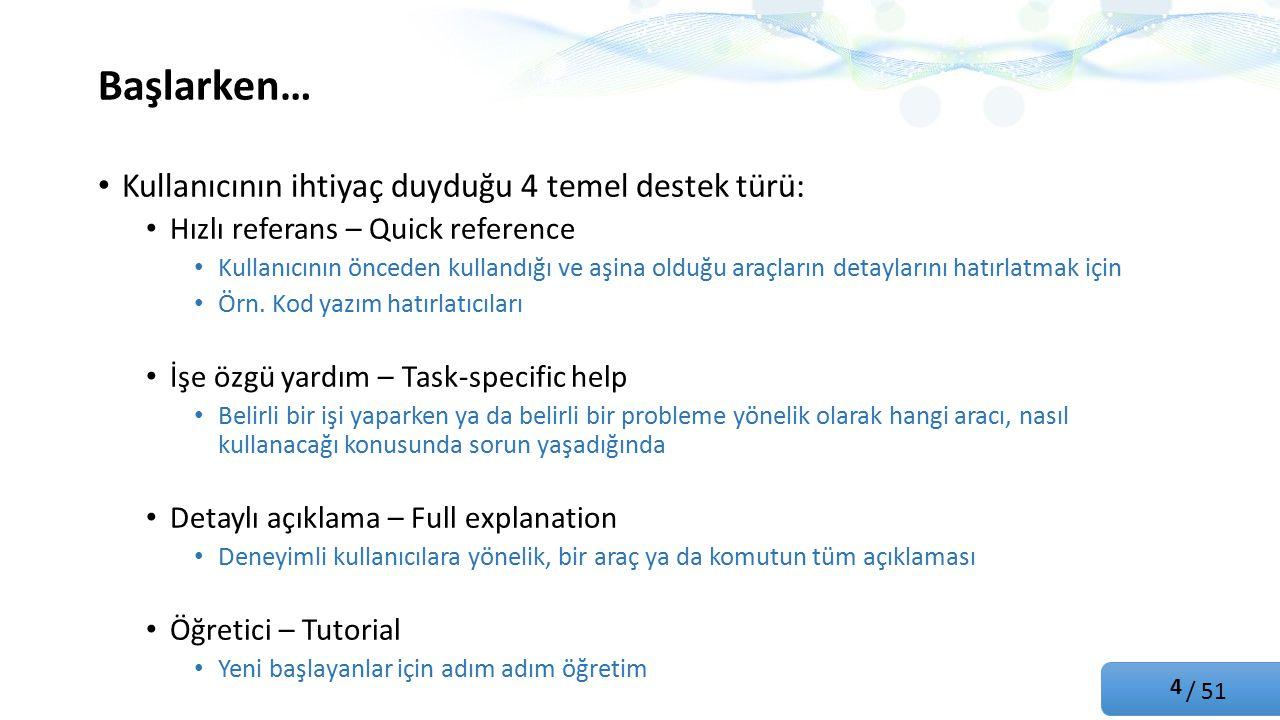 / 51 Başlarken… Kullanıcının ihtiyaç duyduğu 4 temel destek türü: Hızlı referans – Quick reference Kullanıcının önceden kullandığı ve aşina olduğu araçların detaylarını hatırlatmak için Örn.