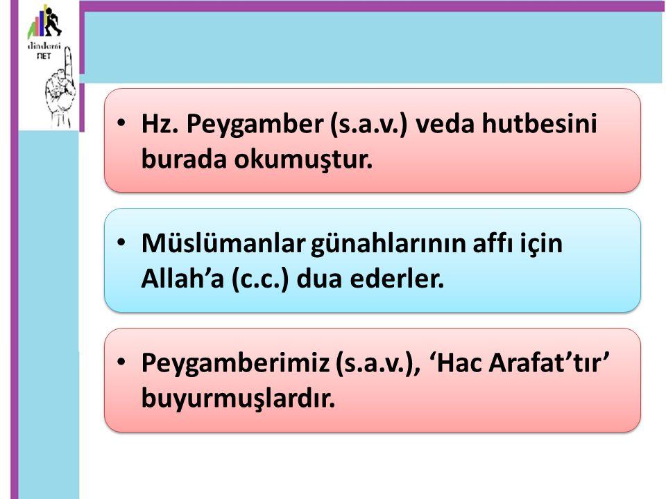 Hz. Peygamber (s.a.v.) veda hutbesini burada okumuştur. Müslümanlar günahlarının affı için Allah'a (c.c.) dua ederler. Peygamberimiz (s.a.v.), 'Hac Ar