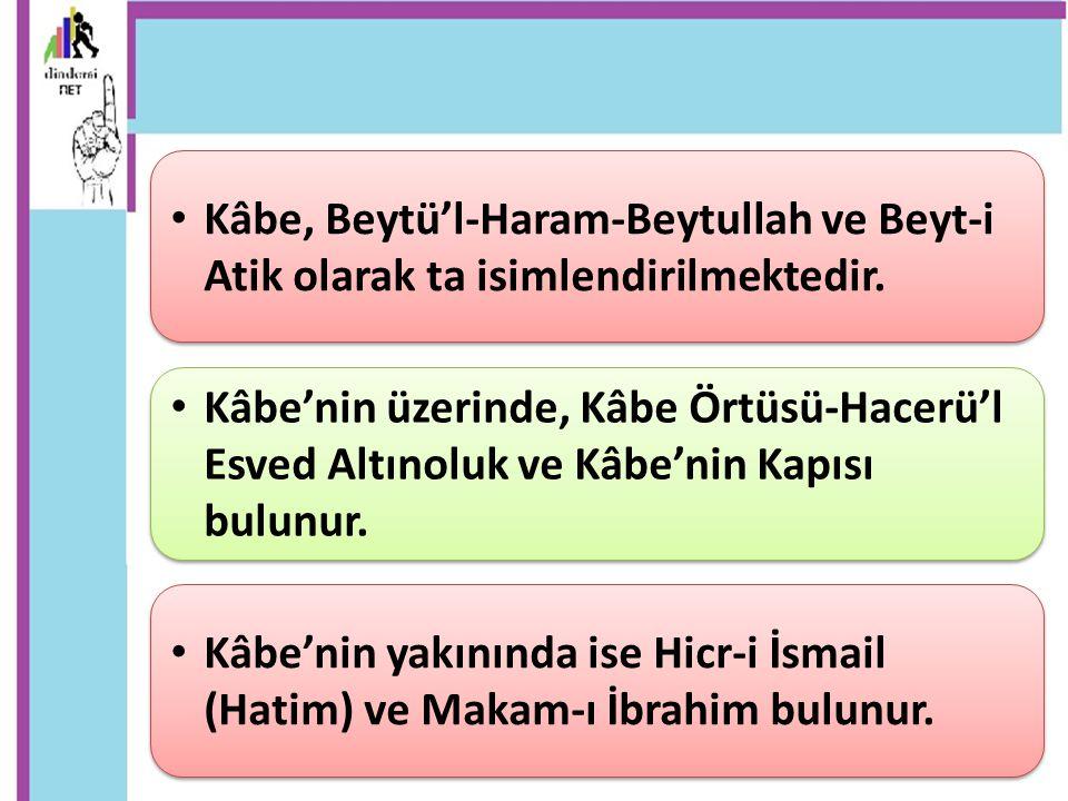 Kâbe, Beytü'l-Haram-Beytullah ve Beyt-i Atik olarak ta isimlendirilmektedir. Kâbe'nin yakınında ise Hicr-i İsmail (Hatim) ve Makam-ı İbrahim bulunur.