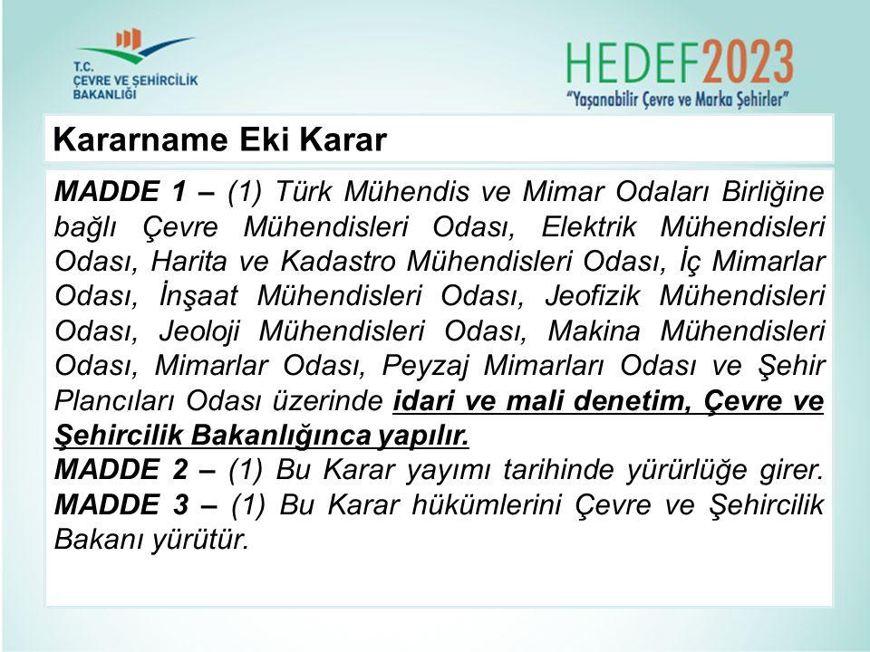Kararname Eki Karar MADDE 1 – (1) Türk Mühendis ve Mimar Odaları Birliğine bağlı Çevre Mühendisleri Odası, Elektrik Mühendisleri Odası, Harita ve Kada