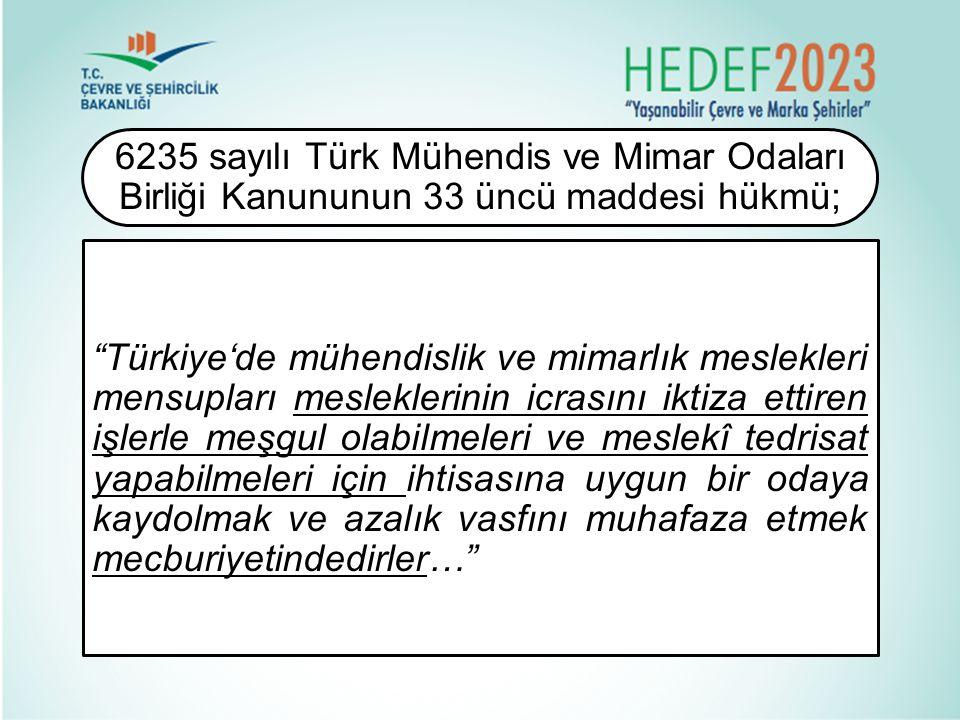 """""""Türkiye'de mühendislik ve mimarlık meslekleri mensupları mesleklerinin icrasını iktiza ettiren işlerle meşgul olabilmeleri ve meslekî tedrisat yapabi"""