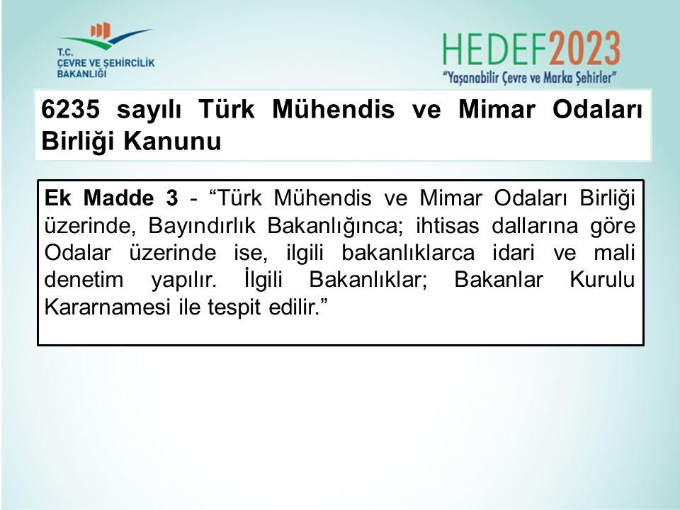 """6235 sayılı Türk Mühendis ve Mimar Odaları Birliği Kanunu Ek Madde 3 - """"Türk Mühendis ve Mimar Odaları Birliği üzerinde, Bayındırlık Bakanlığınca; iht"""