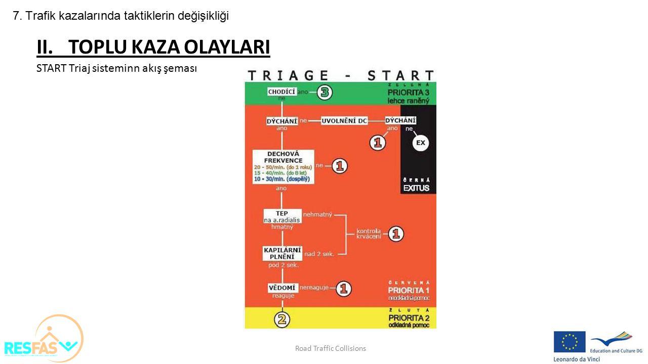 7. Trafik kazalarında taktiklerin değişikliği II. TOPLU KAZA OLAYLARI START Triaj sisteminn akış şeması Road Traffic Collisions