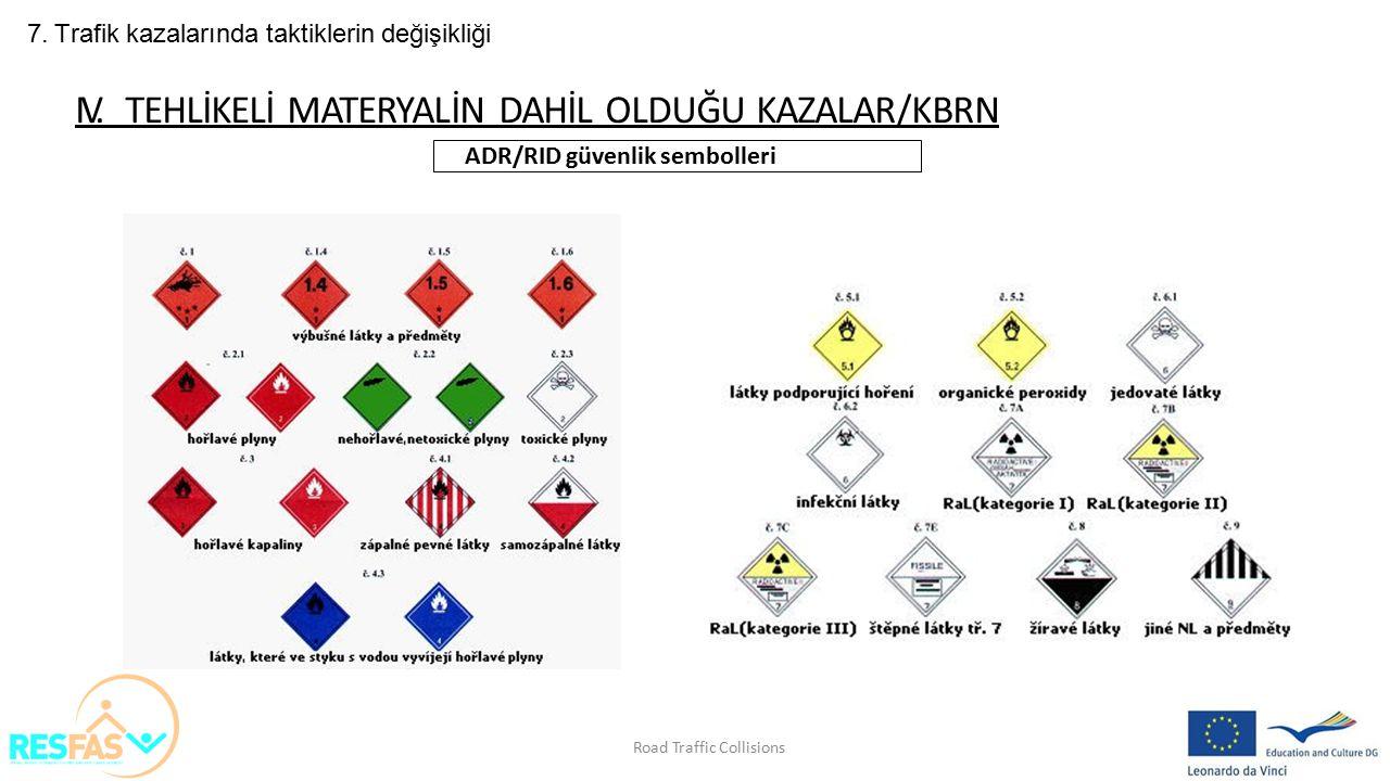 7. Trafik kazalarında taktiklerin değişikliği IV. TEHLİKELİ MATERYALİN DAHİL OLDUĞU KAZALAR/KBRN ADR/RID güvenlik sembolleri Road Traffic Collisions