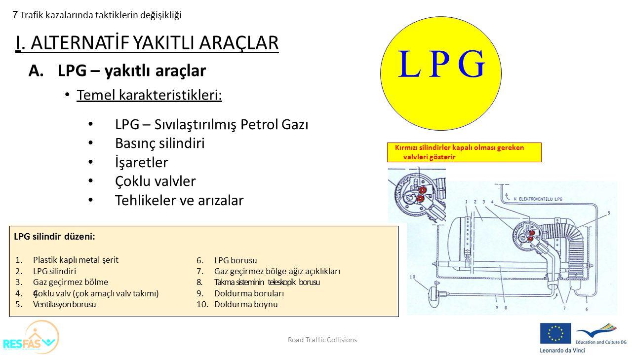 LPG silindir düzeni: 7 Trafik kazalarında taktiklerin değişikliği A.LPG – yakıtlı araçlar Temel karakteristikleri: I. ALTERNATİF YAKITLI ARAÇLAR L P G