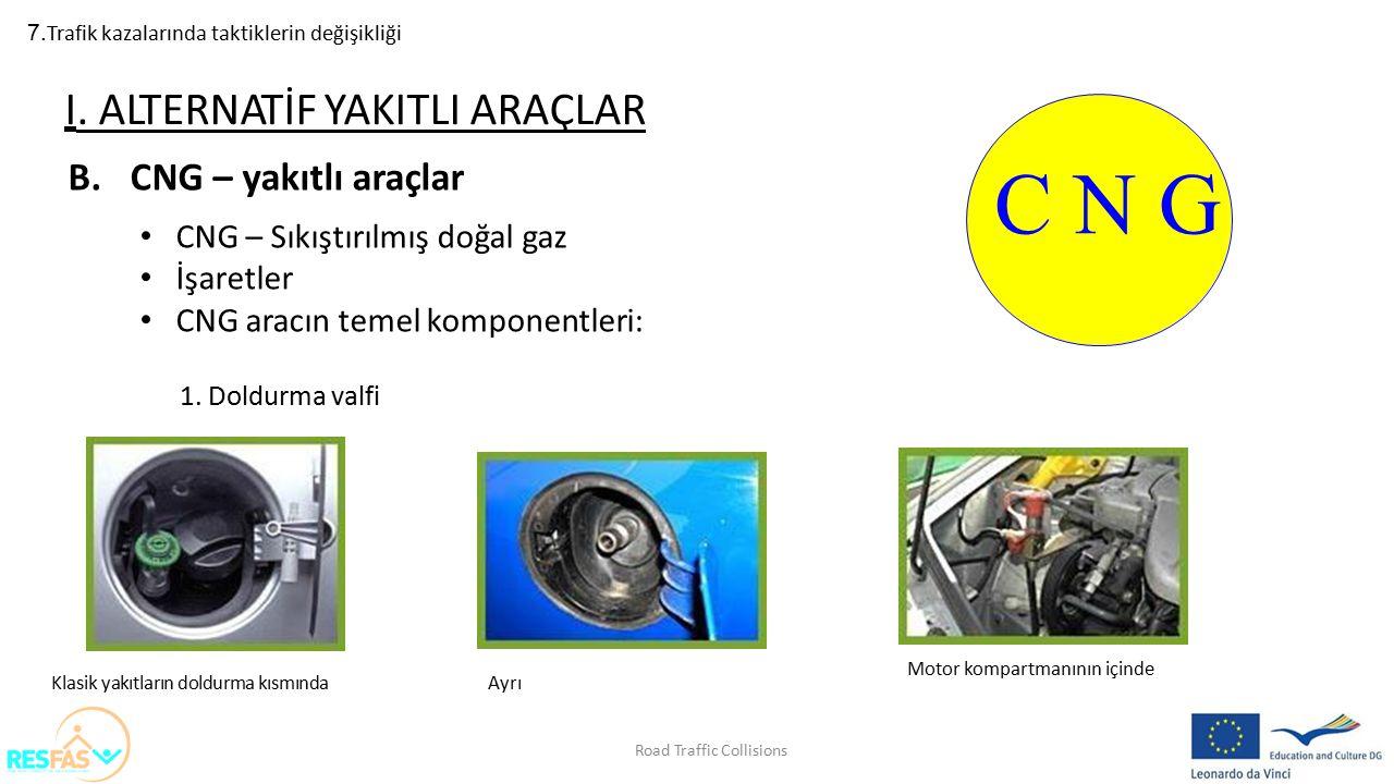 7. Trafik kazalarında taktiklerin değişikliği B.CNG – yakıtlı araçlar CNG – Sıkıştırılmış doğal gaz İşaretler CNG aracın temel komponentleri: 1.Doldur