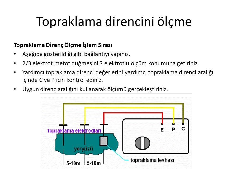 Topraklama direncini ölçme Topraklama Direnç Ölçme İşlem Sırası Aşağıda gösterildiği gibi bağlantıyı yapınız. 2/3 elektrot metot düğmesini 3 elektrotl