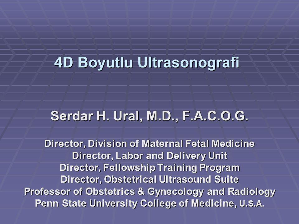 4D Boyutlu Ultrasonografi Serdar H. Ural, M.D., F.A.C.O.G. Director, Division of Maternal Fetal Medicine Director, Labor and Delivery Unit Director, F