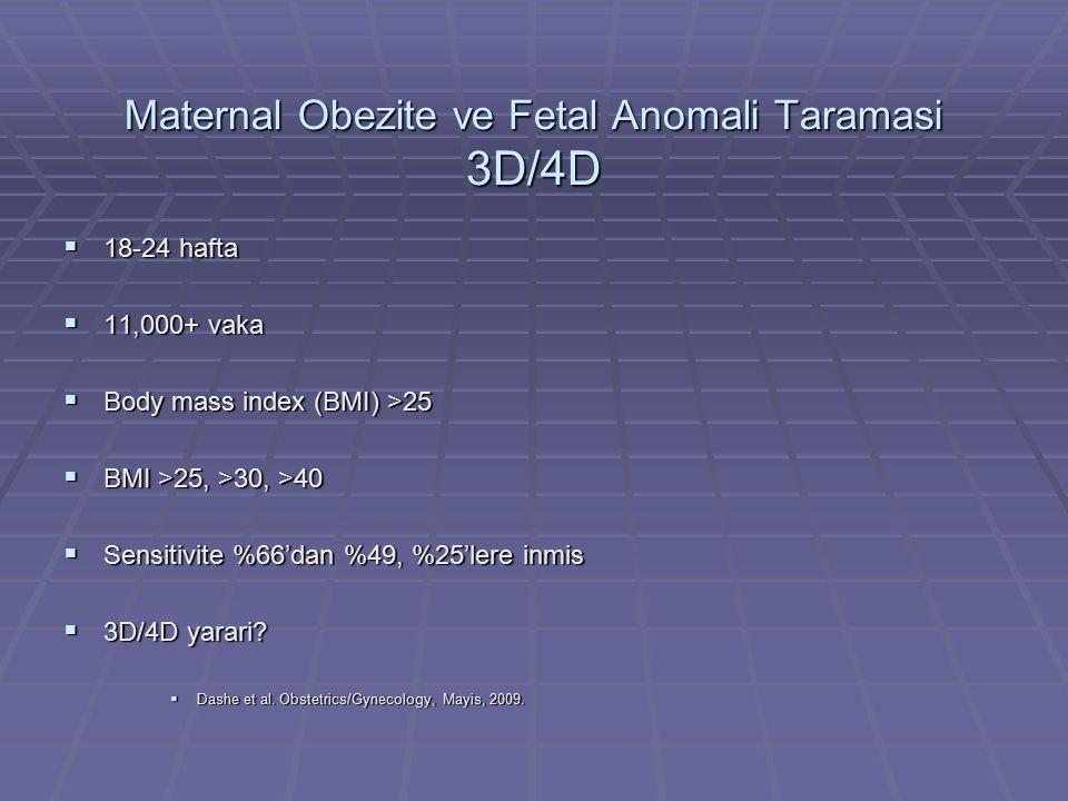 Maternal Obezite ve Fetal Anomali Taramasi 3D/4D  18-24 hafta  11,000+ vaka  Body mass index (BMI) >25  BMI >25, >30, >40  Sensitivite %66'dan %4