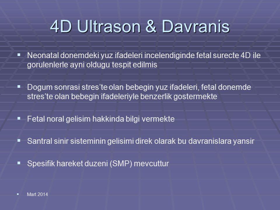 4D Ultrason & Davranis   Neonatal donemdeki yuz ifadeleri incelendiginde fetal surecte 4D ile gorulenlerle ayni oldugu tespit edilmis   Dogum sonr