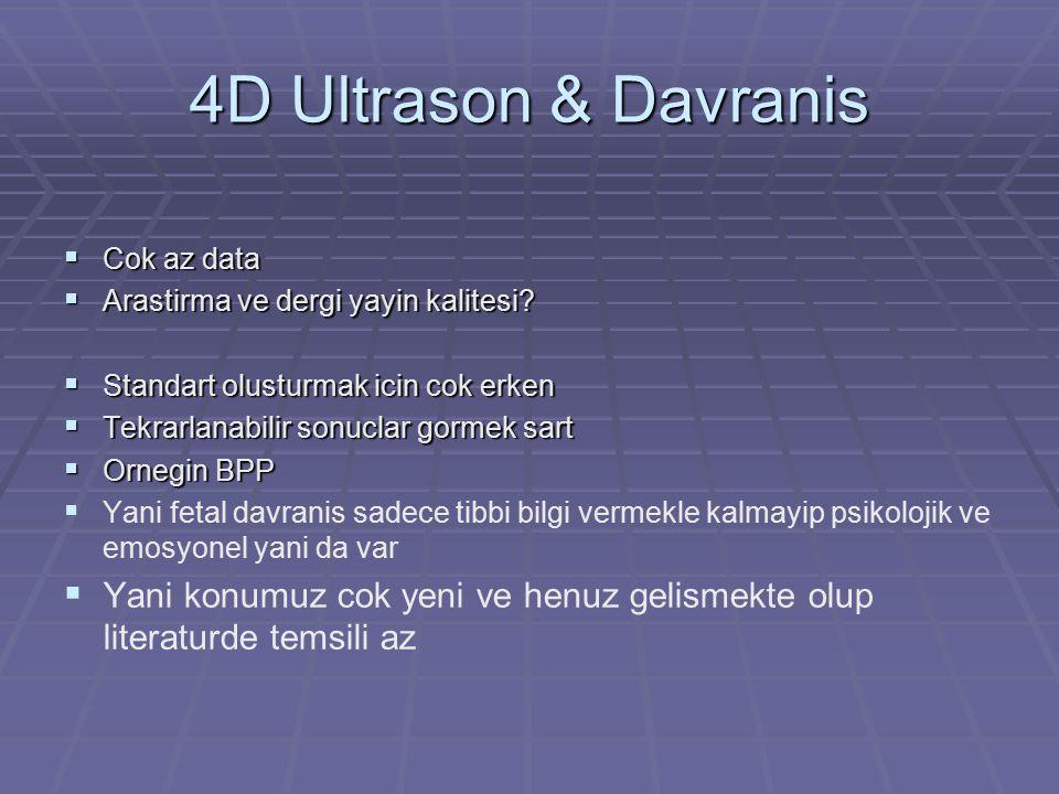 4D Ultrason & Davranis  Cok az data  Arastirma ve dergi yayin kalitesi?  Standart olusturmak icin cok erken  Tekrarlanabilir sonuclar gormek sart