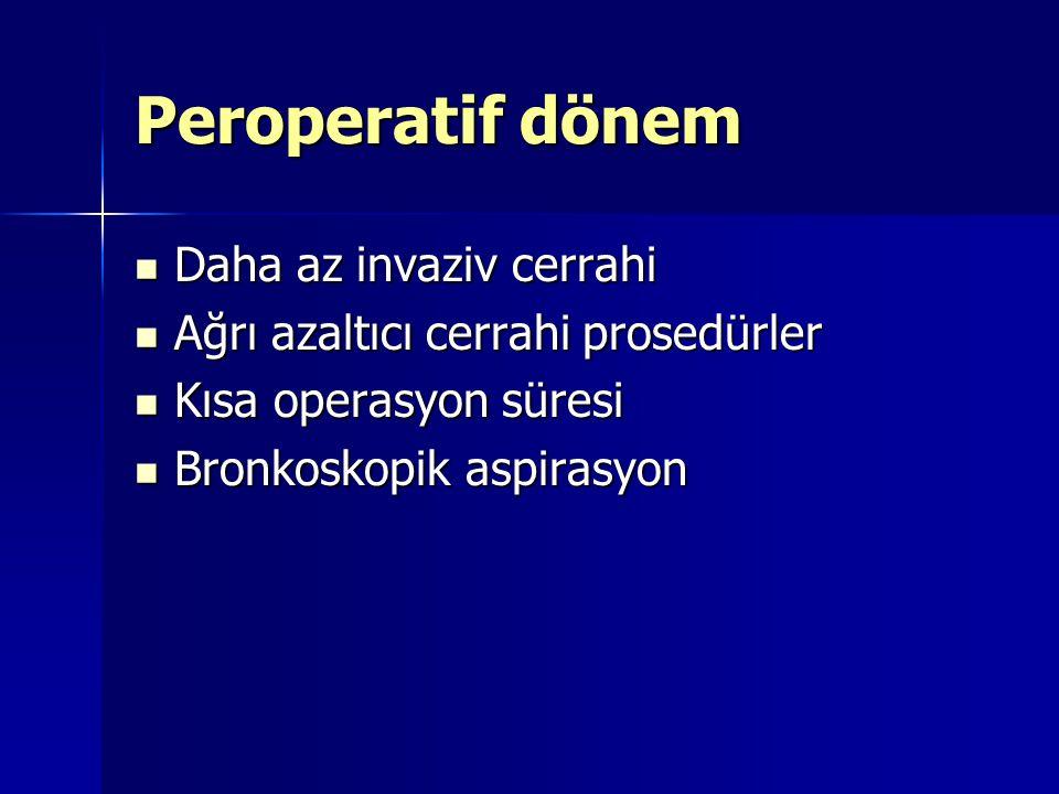 Peroperatif dönem Daha az invaziv cerrahi Daha az invaziv cerrahi Ağrı azaltıcı cerrahi prosedürler Ağrı azaltıcı cerrahi prosedürler Kısa operasyon s