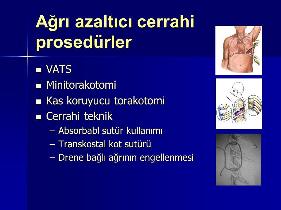 Ağrı azaltıcı cerrahi prosedürler VATS VATS Minitorakotomi Minitorakotomi Kas koruyucu torakotomi Kas koruyucu torakotomi Cerrahi teknik Cerrahi tekni