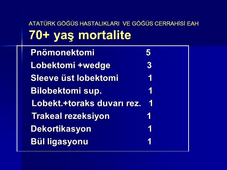 Pnömonektomi 5 Lobektomi +wedge 3 Sleeve üst lobektomi 1 Bilobektomi sup. 1 Lobekt.+toraks duvarı rez. 1 Lobekt.+toraks duvarı rez. 1 Trakeal rezeksiy