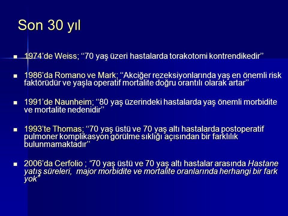 Son 30 yıl 1974'de Weiss; ''70 yaş üzeri hastalarda torakotomi kontrendikedir'' 1986'da Romano ve Mark; ''Akciğer rezeksiyonlarında yaş en önemli risk