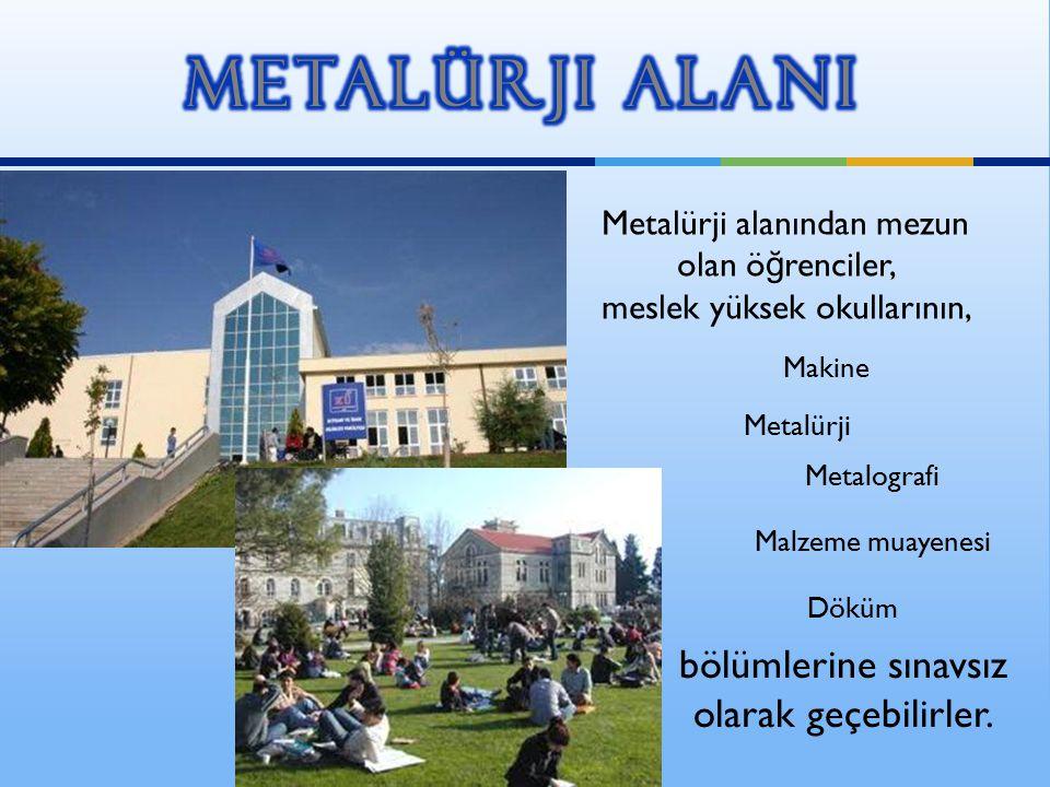 Metalürji alanından mezun olan ö ğ renciler, meslek yüksek okullarının, Makine Malzeme muayenesi Metalografi Döküm Metalürji bölümlerine sınavsız olar