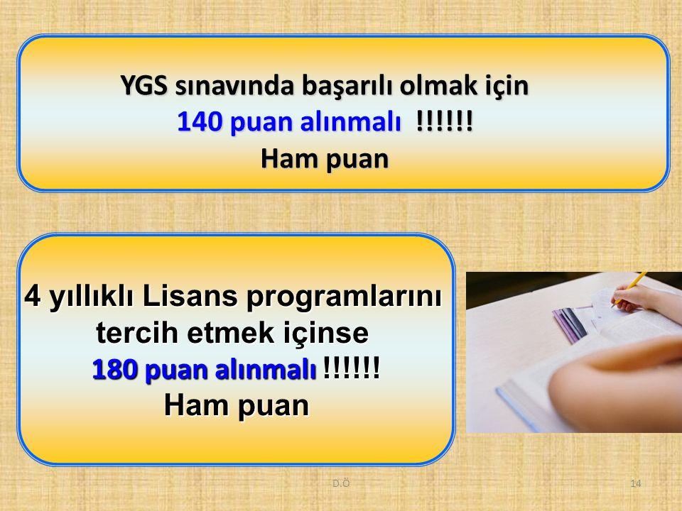 D.Ö14 YGS sınavında başarılı olmak için 140 puan alınmalı !!!!!! Ham puan 4 yıllıklı Lisans programlarını tercih etmek içinse 180 puan alınmalı !!!!!!