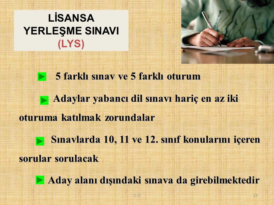D.Ö23 5 farklı sınav ve 5 farklı oturum 5 farklı sınav ve 5 farklı oturum Adaylar yabancı dil sınavı hariç en az iki oturuma katılmak zorundalar Adayl