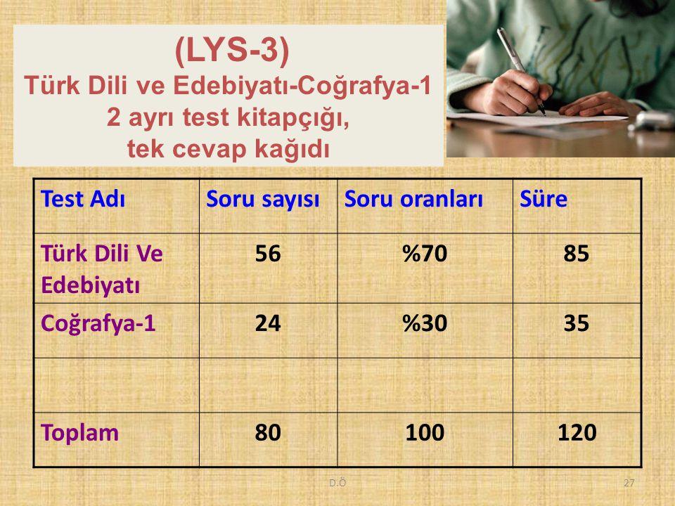 D.Ö27 (LYS-3) Türk Dili ve Edebiyatı-Coğrafya-1 2 ayrı test kitapçığı, tek cevap kağıdı Test AdıSoru sayısıSoru oranlarıSüre Türk Dili Ve Edebiyatı 56%7085 Coğrafya-124%3035 Toplam80100120
