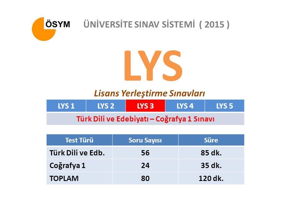 LYS Lisans Yerleştirme Sınavları ÜNİVERSİTE SINAV SİSTEMİ ( 2015 ) LYS 1LYS 2LYS 3LYS 4LYS 5 Türk Dili ve Edebiyatı – Coğrafya 1 Sınavı Test TürüSoru SayısıSüre Türk Dili ve Edb.5685 dk.