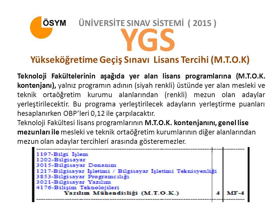 ÜNİVERSİTE SINAV SİSTEMİ ( 2015 ) YGS Yükseköğretime Geçiş Sınavı Lisans Tercihi (M.T.O.K) Teknoloji Fakültelerinin aşağıda yer alan lisans programlarına (M.T.O.K.