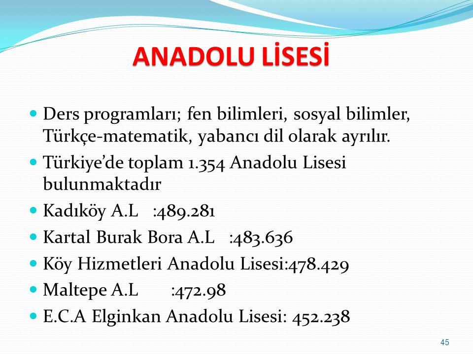 ANADOLU LİSESİ Eğitim süresi dört yıldır. İstanbul Lisesi, Galatasaray Lisesi, Kadıköy Anadolu Lisesi, Vefa Lisesi, Kabataş Lisesi ve Çağaloğlu Anadol