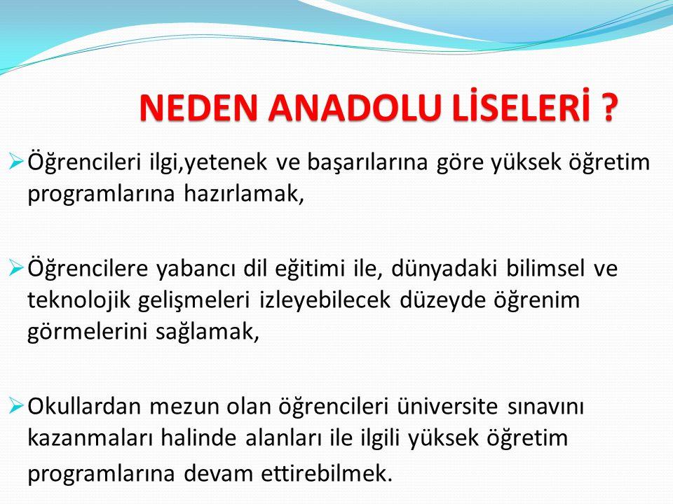ANADOLU LİSESİ Ders programları; fen bilimleri, sosyal bilimler, Türkçe-matematik, yabancı dil olarak ayrılır. Türkiye'de toplam 1.354 Anadolu Lisesi