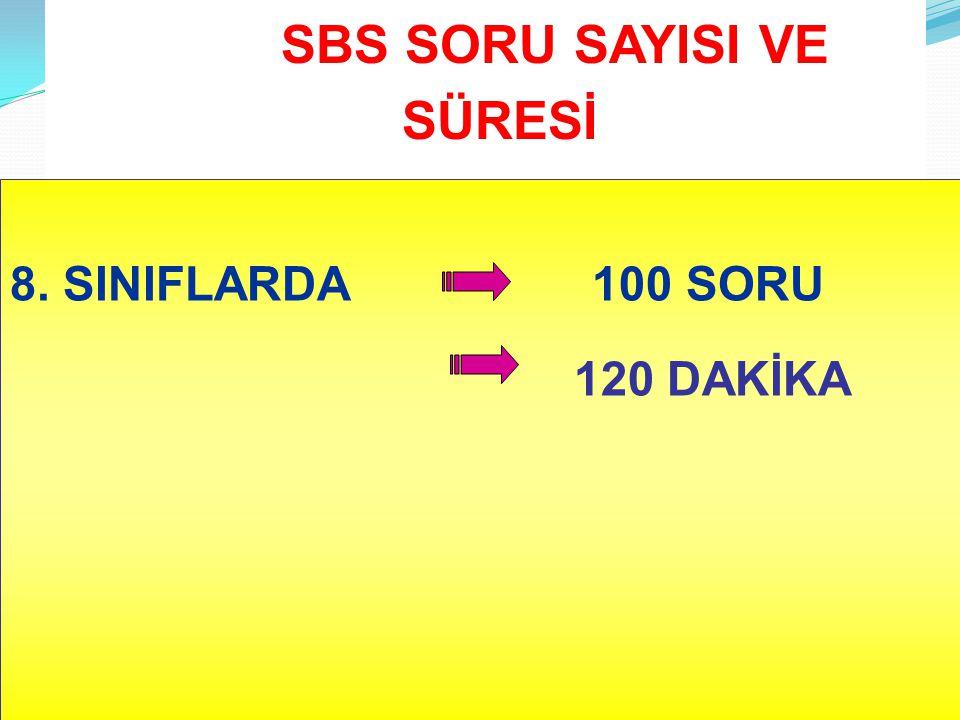 SBS SORU SAYISI VE SÜRESİ 8. SINIFLARDA 100 SORU 120 DAKİKA