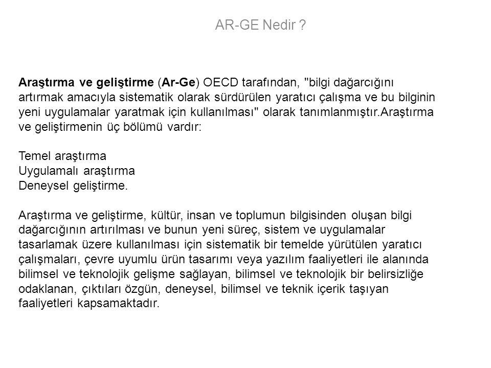 AR-GE Nedir ? Araştırma ve geliştirme (Ar-Ge) OECD tarafından,