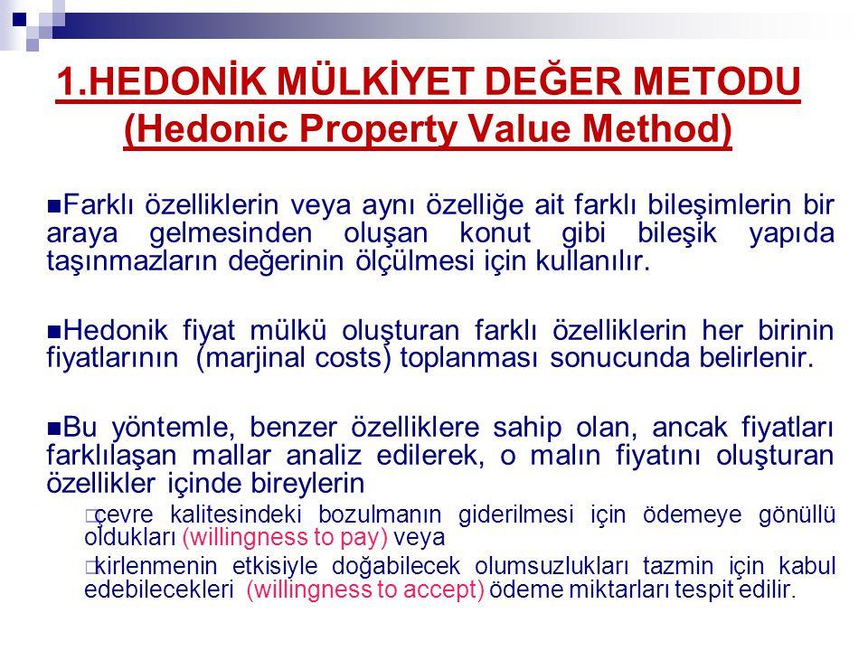 Hedonik Mülkiyet Değer Metodu (Hedonic Property Value Method) (Implicit Prices (genel maliyete ek)+Demand Curves) P=f(N 1,N 2,.....,N m ; H 1, H 2,.....,H n ; E 1,E 2,....E p ) Mahalle/Evin oda sayısı/ yörenin /Çevresel Kalite Seviyesi P (Ev fiyatı) = N 2 + H 2 + 10000 – (100-E) 2 E=Hava Kalitesi İndex değeri (0-100) E = 0 (Hava kirliliği seviyesinin en yüksek olduğu durum), E = 100 (temiz hava koşullar) E=0 için P min = P = N 2 + H 2 E=100 için P max = P = N 2 + H 2 + 10000 (İndex yükseldikçe evin değeri artıyor!) 100 200 100 80 50 60 Hava kalitesi indeksi 0 Hava kalitesinin iyileşmesiyle (Hava kalitesi indeksinin 50'den 60'a çıkmasıyla) sağlanan fayda(900$) Genel maliyete ek($/birim)