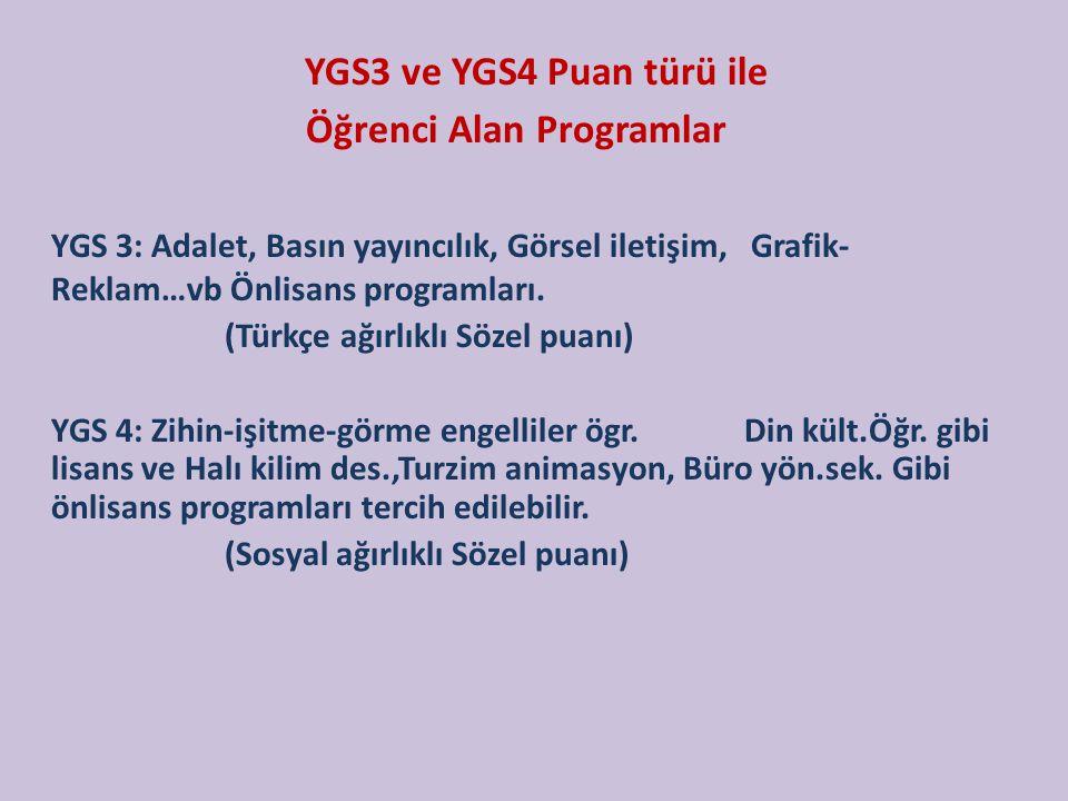 YGS3 ve YGS4 Puan türü ile Öğrenci Alan Programlar YGS 3: Adalet, Basın yayıncılık, Görsel iletişim, Grafik- Reklam…vb Önlisans programları. (Türkçe a
